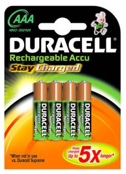 Duracell batteri STAYCHARGED, AAA, 4 stk.