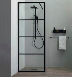 Lavabo Walk-In brusevæg 90 x 200 cm, klart glas/mat sort