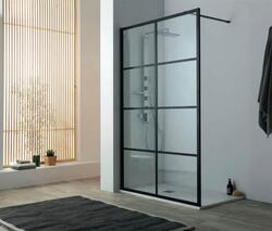 Lavabo Walk-In brusevæg 100 x 200 cm, klart glas/mat sort